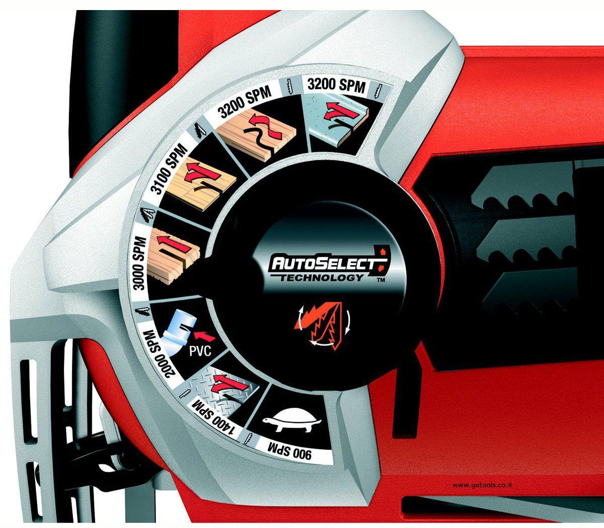 מערכת AUTO SELECT - התאמה אוטומטית של מהירות הלהב וחיתוך הפנדל לפי סוג החומר לחיתוך.