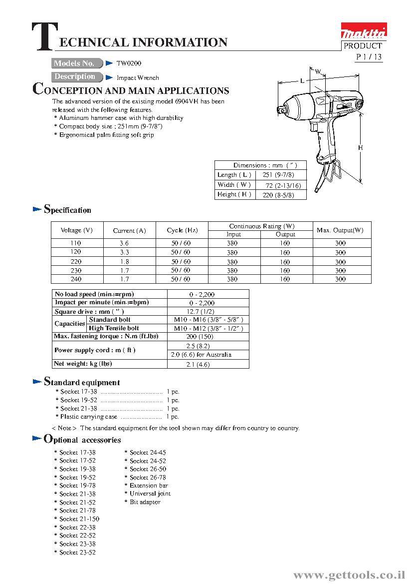 tw0200 מפתח אימפקט - תאור טכני
